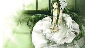 Картинка: Девушка, зелёные волосы, цветы, платье