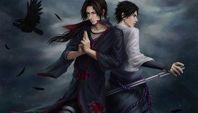 Картинка: Двое, птица, ворон, перья, меч, медитация, волосы, тучи, Наруто, Итачи Учиха, Учиха Саске