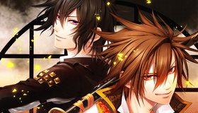 Картинка: Toki no Kizuna, мужчины, двое, Chitose, Kazuya, искры, меч, катана