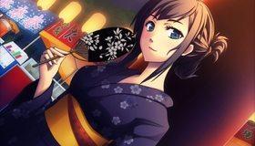 Картинка: Девушка, японка, лицо, глаза, кимоно, веер, иероглифы