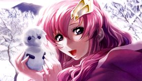 Картинка: Девушка, розовые волосы, улыбка, лицо, глаза, настроение, снеговик, деревья, зима