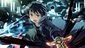 Картинка: Кирито, меч, оружие, мастер, парень, лцо, глаза, взгляд