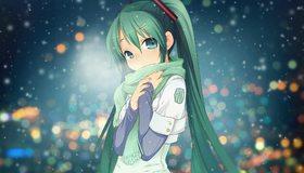 Картинка: Мику Хацунэ, певица, девушка, лицо, волосы, холод, зима, снег, блики