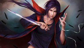 Картинка: Итачи Учиха, меч, оружие, взгляд, плащ, волосы, перья, аниме, Наруто, перс, кровь, шиноби