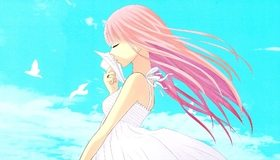Картинка: Девушка, волосы, розовые, самолётик, небо, облака, птицы, платье, ветер