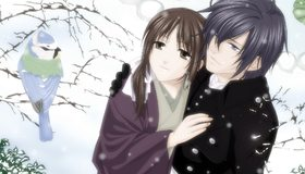 Картинка: Девушка, парень, пара, птица, смотрят, зима, снег