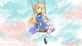 Картинка: Девушка, блондинка, бантик, качель, небо, цветы