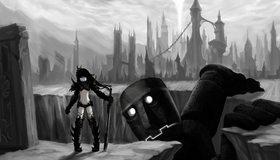 Картинка: Воин, мечница, меч, dark, робот, яма, город