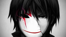 Картинка: Темнее чёрного, Darker than Black, Хэй, маска, разбитая, взгляд, волосы