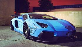Картинка: Lamborghini, Aventador, blue, голубой, спортивный, суперкар