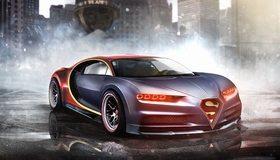 Картинка: Бугатти, Bugatti Chiron, DC Superheroes, авто, Marvel, супермен, туман, отражение