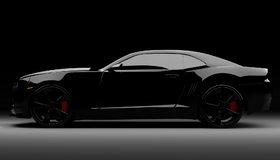 Картинка: Спорткар, чёрный, в профиль, Chevrolet, Camaro V