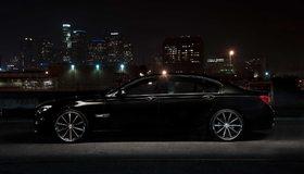 Картинка: Чёрный, BMW, 750li, авто, литьё, город, огни, ночь