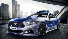 Картинка: Полицейская, тюнинг, Форд, город, высотки, Мустанг, Ford, Mustang, V8, GT, Немецкий, Polizei