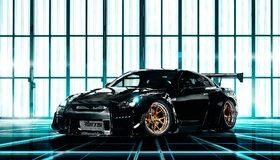 Картинка: Nissan, GTR, тюнинг, чёрный, литьё, карбон, неон