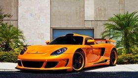 Картинка: Porsche, carrera gt, тюнинг, оранжевый, спорткар
