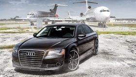 Картинка: Audi, RS7, черный, аэропорт, самолёты, забор