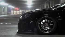 Картинка: Субару, Subaru, impreza, машина, перед авто, чёрная, литьё, низкая посадка, свет