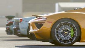 Картинка: Суперкары, колесо, задняя часть, бамперы, спойлеры, тень, гонки, соревнования