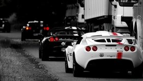 Картинка: Суперкары, машины, едут, дорога, Lotus, Exige, фары, чёрные, белые