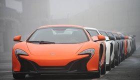 Картинка: McLaren 650S, суперкары, разметка, в ряд, сплошная линия, цвет, туман