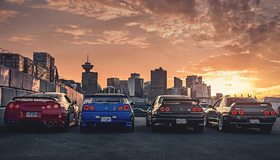 Картинка: Nissan, GTR, R35, R32, R34, авто, здания, высотки, небо, облака, закат