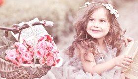Картинка: Девочка, глаза, цветы, корзинка, книга, бусы, улыбка, настроение