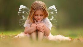 Картинка: Девочка, сидит, волосы, крылья, платье