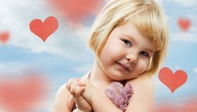 Картинка: Девочка, лицо, волосы, настроение, улыбка, небо, облака, сердечки