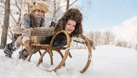 Картинка: Мальчики, дети, ребята, шапка, зима, снег, катаются, санки, деревья, улыбка, настроение