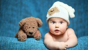 Картинка: Ребёнок, младенец, мишка, игрушка, взгляд, шапка, ткань