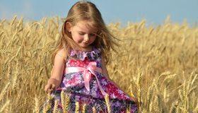 Картинка: Девочка, платье, бантик, пшеница, колосья, поле