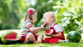 Картинка: Ребятишки, едят, арбуз, зелень, трава, лето