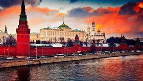 Картинка: Кремль, Москва, город, река, архитектура, транспорт, движение