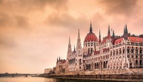 Картинка: Венгрия, Будапешт, река, вода, мост, здание, архитектура, небо