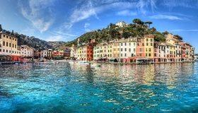 Картинка: Италия, Лигурия, море, голубая вода, дома, деревья, небо, облака