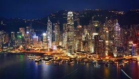 Картинка: Гонконг, Китай, здания, небоскрёбы, огни, вода, ночь