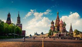 Картинка: Москва, храм, собор, Красная площадь, Спасская башня, Кремль, куранты, люди, небо, облака