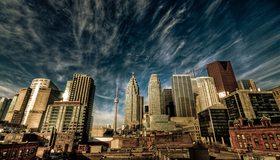 Картинка: Торонто, Канада, город, мегаполис, Си-Эн Тауэр, башня, здания, небоскрёбы, небо