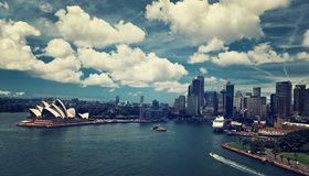 Картинка: Австралия, Сидней, Australia, Sydney, здания, высотки, мегаполис, Sydney Opera House, море, лодки