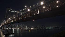 Картинка: Мост, город, здания, ночь, освещение, огни, свет, архитектура, небо