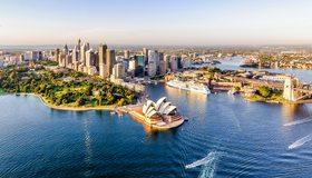 Картинка: Город, Сидней, Sydney, Австралия, здания, высотки, театр, вода, паром, набережная, панорама, горизонт