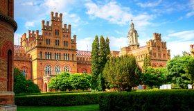 Картинка: Архитектура, сад, деревья, строения, трава, Черновицкий, университет, небо
