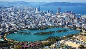 Картинка: Япония, Фукуока, дома, высотки, здания, мегаполис, море, вода, деревья, горы