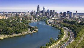 Картинка: Город, Филадельфия, США, здания, река, деревья, небо