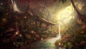Картинка: Арт, Аватар, Пандора, водопад, ручей, светящийся шар, деревья, джунгли, насекомые, листья