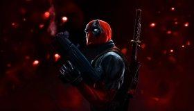 Картинка: Deadpool, Дэдпул, Уэйд Уилсон, Marvel, comix, оружие, красный, маска, антигерой, наёмник, мечи, взгляд, арт