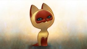Картинка: Котёнок Гав, сидит, глаза, морда, настроение, мультфильм