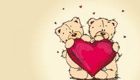 Картинка: Медвежата, Teddy, Bear, красное сердце, сердечки, любовь, love, amore