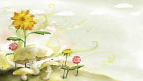 Картинка: Рисунок, грибы, цветы, фантазия, небо, облака